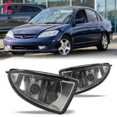 For 2004-2005 Honda Civic Fog Lights (Wiring, Switch, and Bezels) Clear Lens