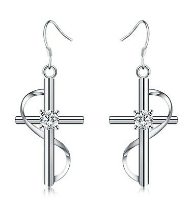 925 Sterling Silver Dangle Cross Hoop Pierced Earrings