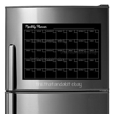 A3 Magnetic Monthly family meal planner erasable Black / white undated calendar