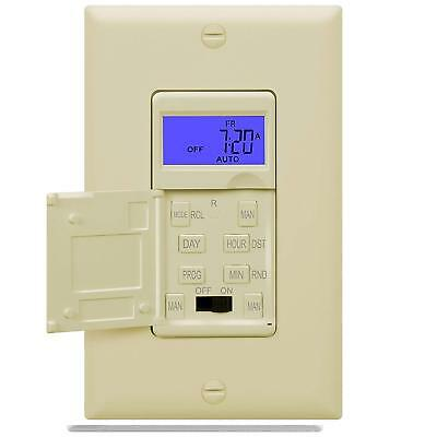 7-Day Digital Programmable Timer Light Switch for Outdoor Lights Ivory