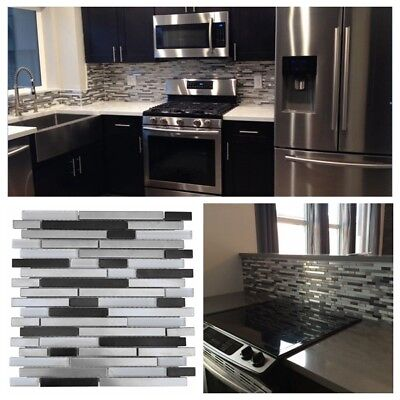 Silver Black Stainless Steel Metal Glass Mosaic Liner Tile For Backsplash Wall