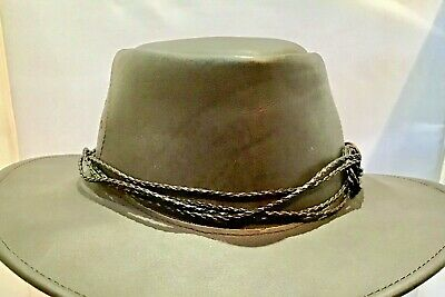 HAT BAND Brown Shiny Leather Eyelet detail Leather Ties  for all style hats