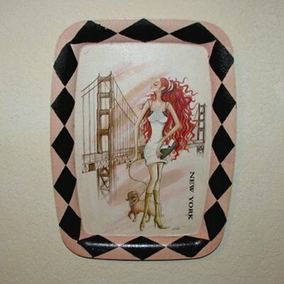 Vintage NEW YORK Pin Up Girl w Poodle Dog Wall Plaque Hanging PINK/BLACK