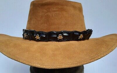 HAT BAND Brown Leather Eyelet detail Leather Ties  for all style hats