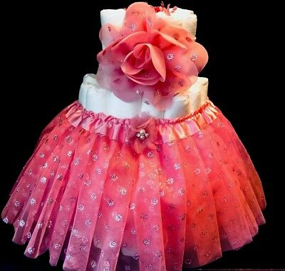 baby shower/ diaper cake/ girl/ coral/ pink/ tutu/ headband/ gift/ centerpiece