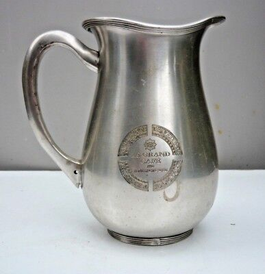 Vintage French water jug - stamped with Paris address - silver metal - good cond