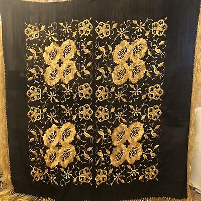 Antique Vintage Canton Embroidered Silk Spanish Piano Shawl Embroidery M-3