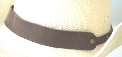 Genuine Leather HAT BAND Brown Leather Panel Crocodile Print Leather Sides