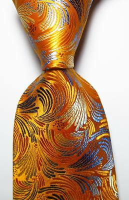 New Classic Paisley Gold Yellow Gray JACQUARD WOVEN 100% Silk Men's Tie Necktie