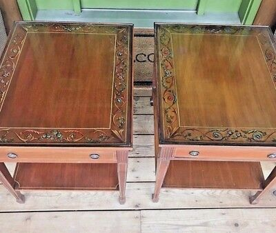Vtg Wood Hand Painted Chippendale Glass Top One Drawer End Side Accent Table