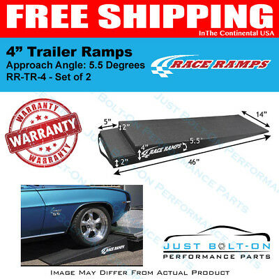 """Race Ramps 4"""" Trailer Ramps 5.5 Degrees Approach Angle (Set of 2) RR-TR-4"""