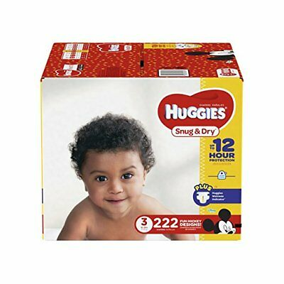 Huggies Snug & Dry Baby Diapers Size 3 222 Count One Month Supply for 16-28 lbs