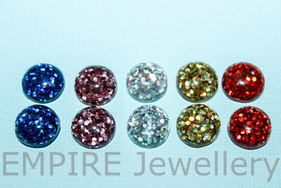 10 x Mixed Colour Bright Glitter Resin Flatback 12x12mm Cabochon Cameo