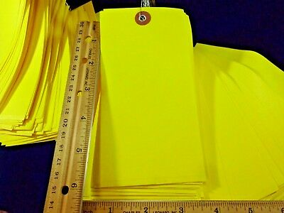 """250 pre-wired yellow shipping inventory tags 6-1/4"""" x 3"""" TyveK weather proof new"""