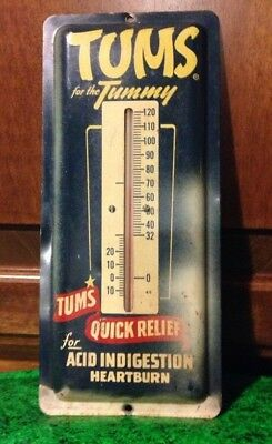 Vintage Tums Thermometer Antique Metal Drug Store Advertising Sign 1940s - 1950s