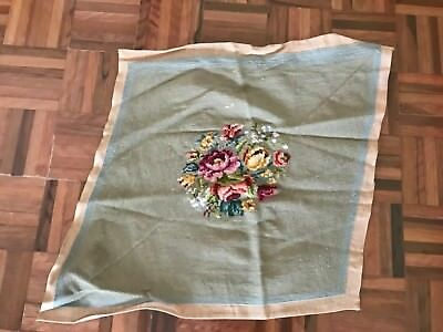 Antique tapestry needlepoint french floral roses seat stool cover completed