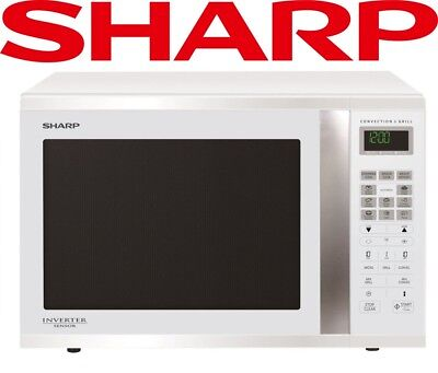 Sharp 1000W Grill Convection Microwave Oven Large White Inverter Sensor R995DW