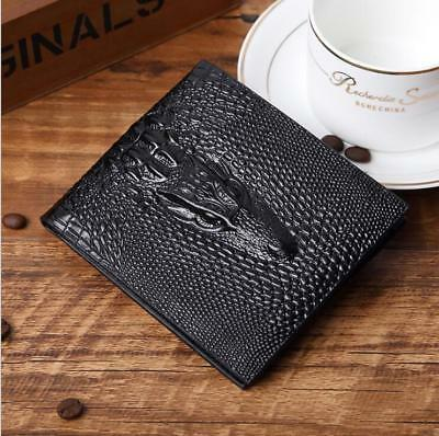 NEW embossing 3D Crocodile Head Short Wallet Men Purses PU Leather Men's Wallets