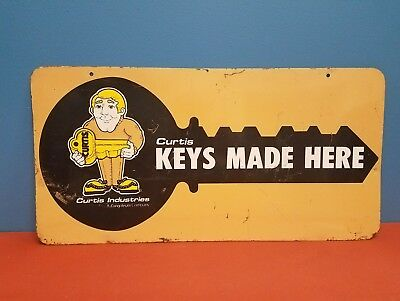 Nice Vintage 1960's Original Double Sided Advertising Sign For Curtis Keys Made