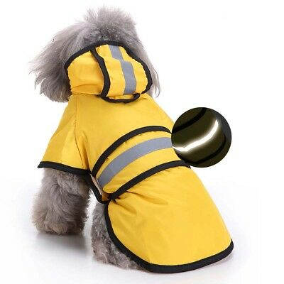 Dog Raincoat Small Medium Waterproof Reflective Doggie Yellow Raincoat for Dogs