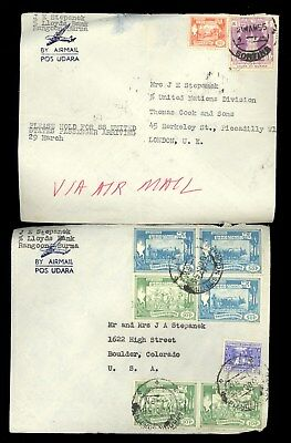 2 Burma Rangoon SS United States Airmail Cook Passengers Mail Stamp Cover H55
