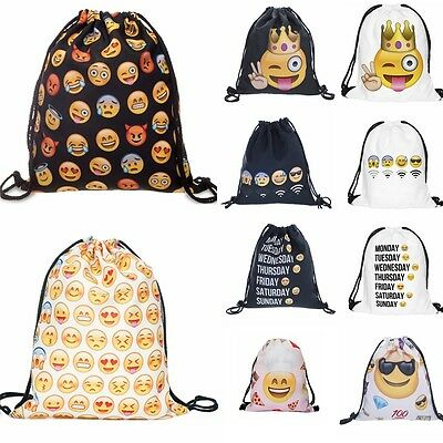 Emoji Drawstring Backpack Unisex Bags Sack Cinch Sport Gym Swim School Rucksack