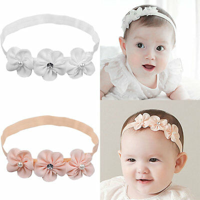 Girl Baby Headband Elastic Hair Band Flower Christening Wedding Accessories