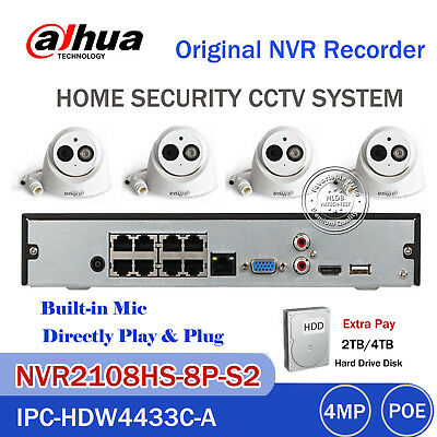 Dahua 8CH CCTV KIT NVR 2108HS-8P-S2 IPC-HDW4433C-A 4MP IP Camera Security System
