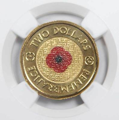 "2012 ""C"" Australian $2 Remembrance Day Poppy - Colorized  NGC MS69 PL RAM"