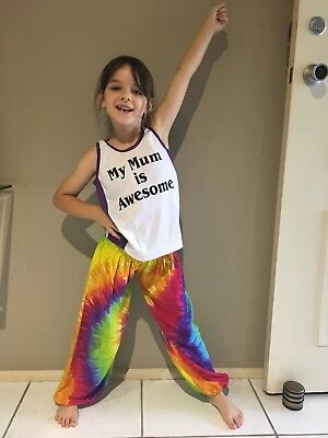 Kids Pants Rainbow Unisex Tie Dyed Harem Pants. For Boys & Girls Ages 6-8yrs.