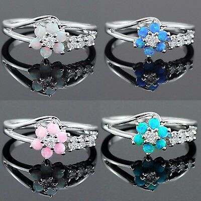 4 Style Jewelry Fire Opal Vintage Women 925 Silver Plated Wedding Ring Size 6-10