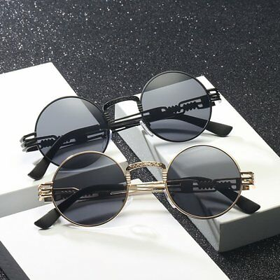 Steampunk Sunglasses Round Metal Wrap Eyeglasses UV400 Unisex Sun Glasses AU