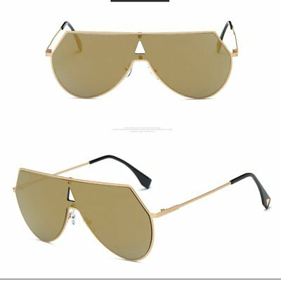 Unique Shield Sunglasses Large Sun Glasses Metal Frame Resin Lens BZ256 AU