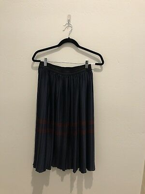Zara Skirt Navy Burgundy Pleated Small Mid Lenght