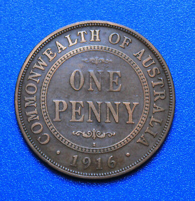 1916 I  AUSTRALIAN PENNY -  Circulated KGV  Coin,  Great Investment