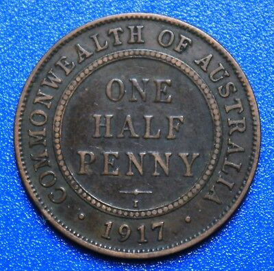 1917 I  AUSTRALIAN HALF PENNY - RARE & Circulated Coin,  Great Investment