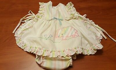 VINTAGE BABY INFANT GIRLS 12 MONTHS SUN SUIT 2 piece open sides PINK white