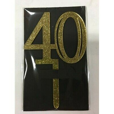 Gold Acrylic 40th Birthday 40 Cake Topper Free Post