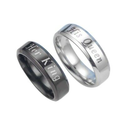 UK Stainless Steel Lovers Rings Her King and His Queen Rings Wedding Jewelry