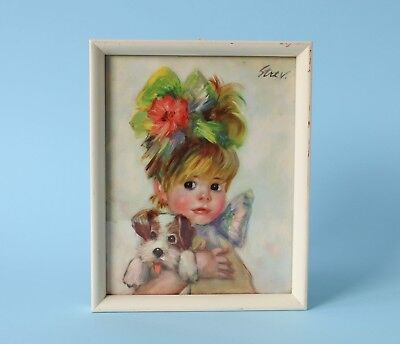 Vintage 60s/70s BIG EYED PRINT Girl with Puppy MID CENTURY Framed STREV