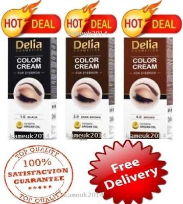 Delia Henna Color Cream Eyebrow Tint Kit Set Black Brown Dark