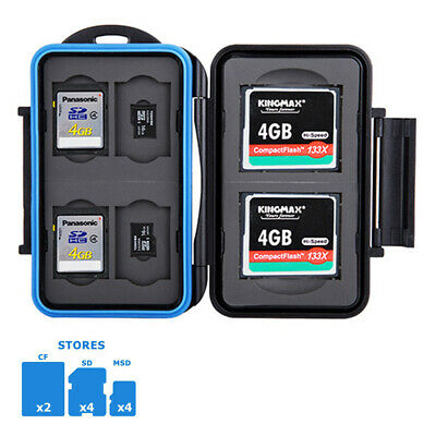 Water-resistant Memory Card Case Holder Storage fits 2 CF+4 SD +4 Micro SD Cards