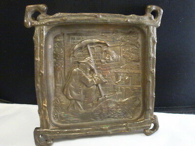 Antique HEAVY CAST BRASS ASHTRAY or PIN CARD TRAY c.1880's MAN PIG UMBRELLA