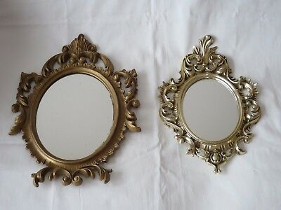 2 Anciens Miroirs Rocaille Entourage En Plastique Made In Italy