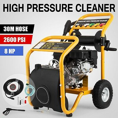 Jet 777 High Pressure Petrol Water Washer Cleaner 8HP 178F Suction 30M Hose Reel