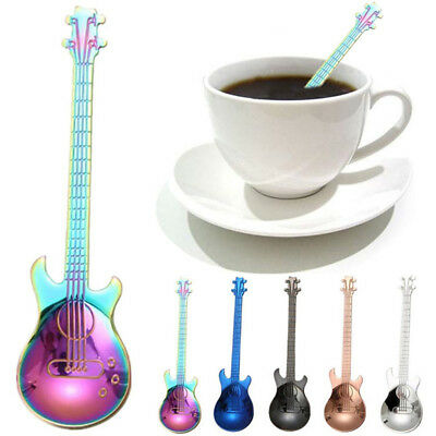 Stainless Steel Rainbow Guitar Shape Coffee Mixing Spoon Drink Tea Spoon Faddish