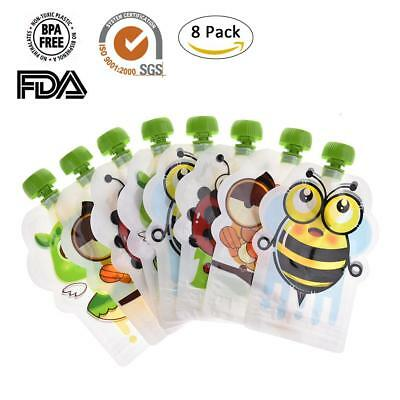 Pack of 8 REUSABLE FOOD POUCHES 150ML for Baby & Toddler, BPA free,FDA,SGS