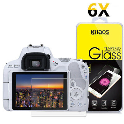 6-Pack Khaos For Canon Eos 200D / KISS 9 / SL2 Tempered Glass Screen Protector