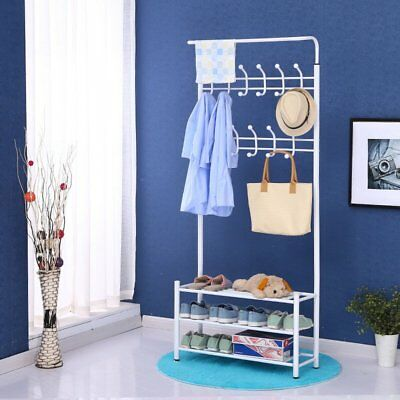 Coat Hat Bag Clothes Stand Shoe Rack Hanger Hooks Shelf Storage Multi Function