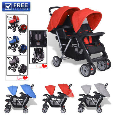 Tandem Pushchair Stroller Double Baby Buggy Twin Pram Infant Toddler Stroller UK